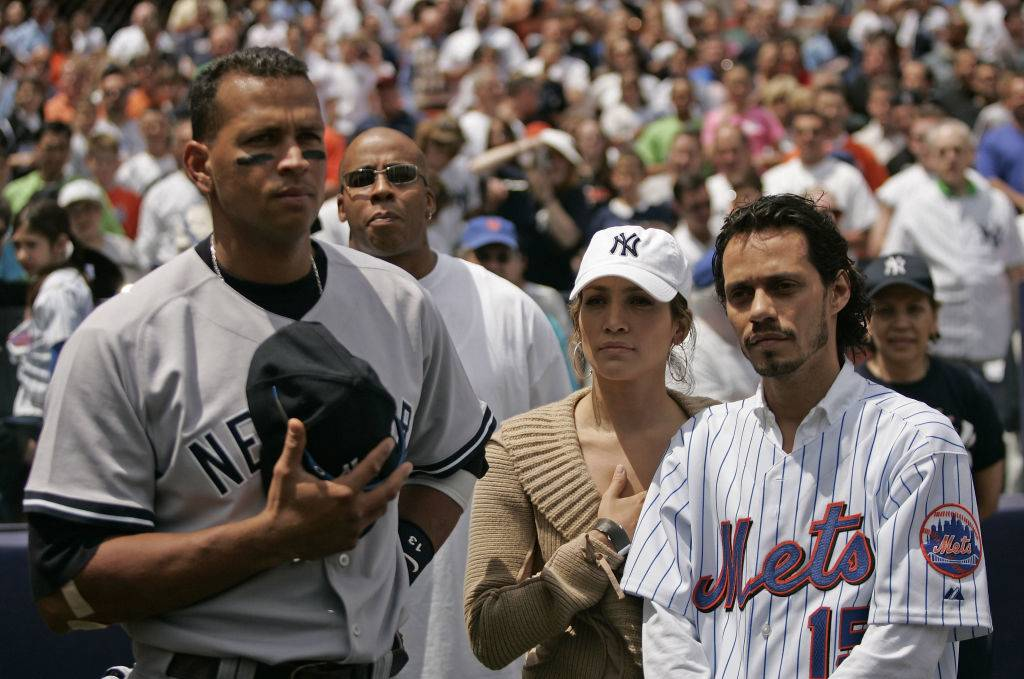 Actress Jennifer Lopez and husband Marc Anthony with New York Yankee Alex Rodriguez in 2005
