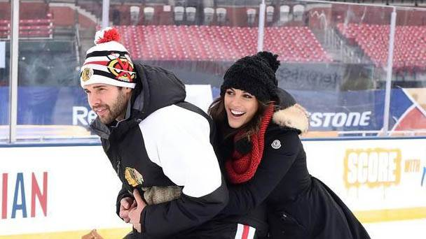 Corey Crawford and Kristy Muscolino skate together.
