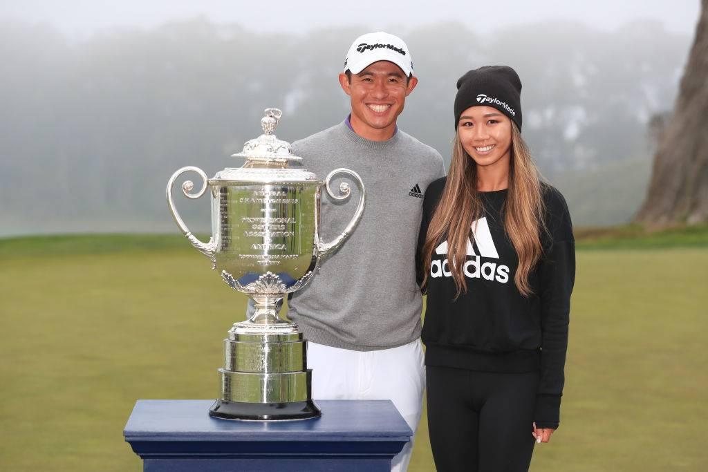 Collin Morikawa of the United States celebrates with the Wanamaker Trophy and girlfriend Katherine Zhu after winning the 2020 PGA Championship