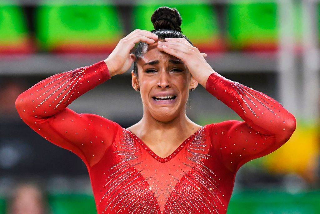 US gymnast Alexandra Raisman reacts after competing in the floor event of the women's individual all-around final
