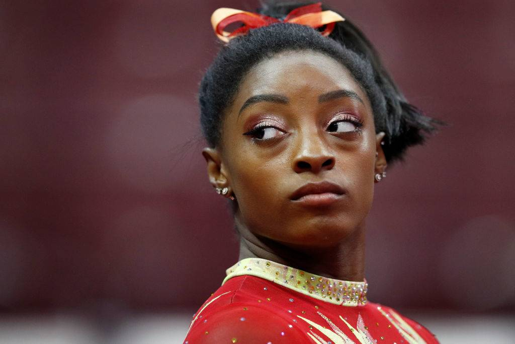 Simone Biles close up on face