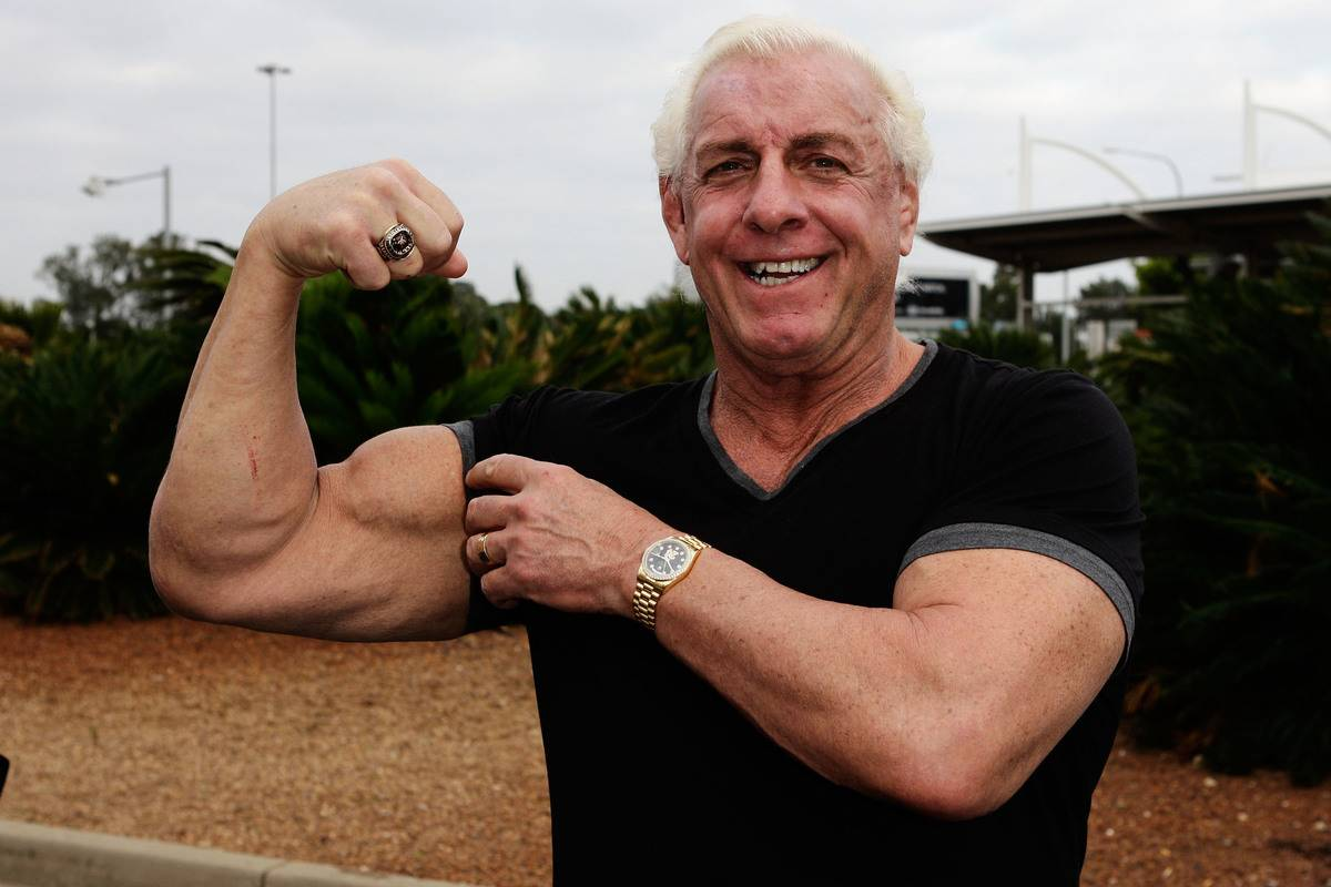 ric flair flexing for the camera
